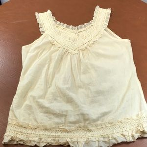 Passport Boho Ecru Lace Peasant Blouse Sz L Hippie